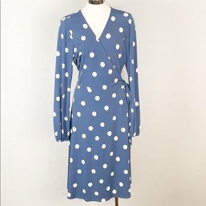 Oscar De Le Renta Blue White Polka Dot Wrap Dress